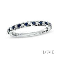 Vera Wang  platinum diamond & sapphire wedding band - Product number 3974839