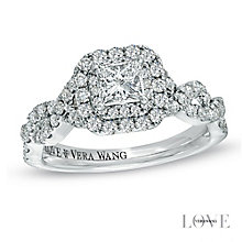 Vera Wang  platinum 95pt princess cut diamond halo ring - Product number 3974987