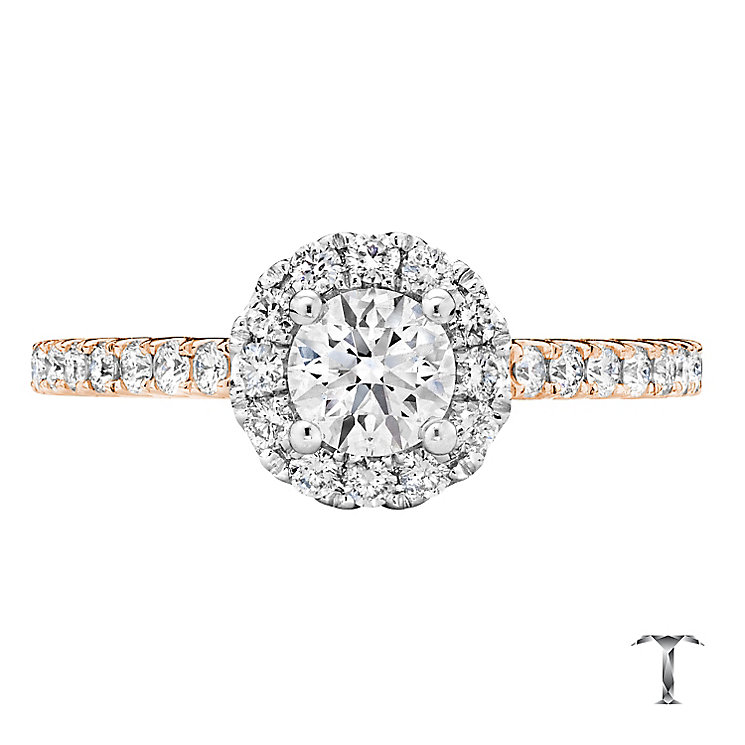 Tolkowsky 18ct Rose Gold 0.77ct I-I1 Diamond Halo Ring - Product number 3979253