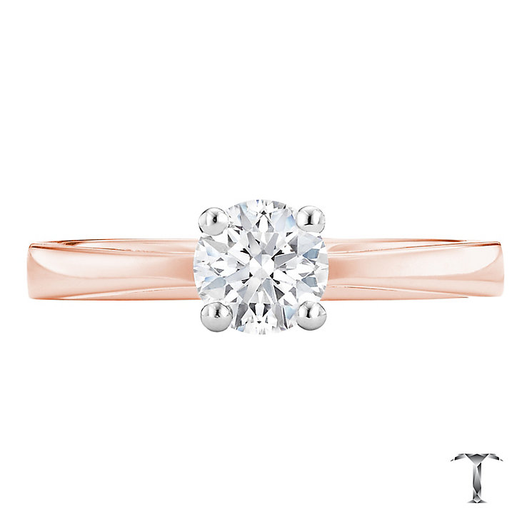 Tolkowsky 18ct rose gold 0.50ct I-I1 diamond ring - Product number 3980189