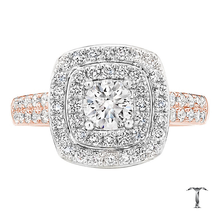Tolkowsky 18ct Rose Gold 1.00ct I-I1 Diamond Halo Ring - Product number 3981517