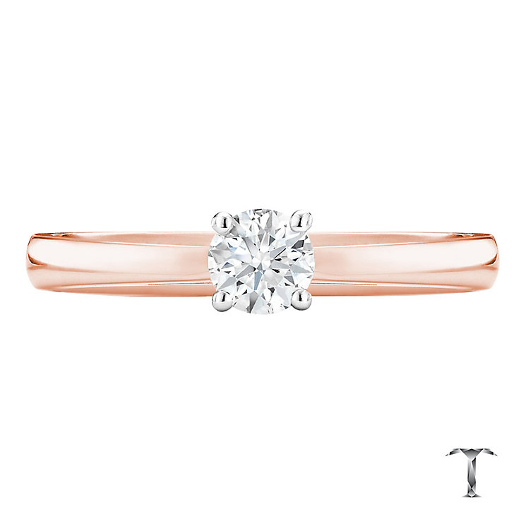 Tolkowsky 18ct rose gold 0.33ct HI-S12 diamond ring - Product number 3981649