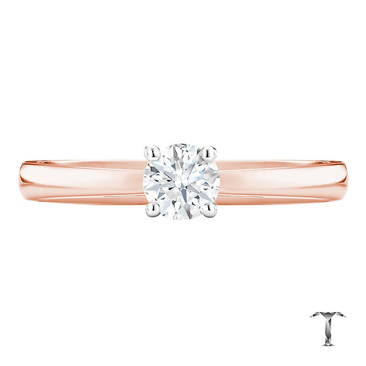 Tolkowsky 18ct rose gold 0.40ct HI-SI2 diamond ring - Product number 3982637
