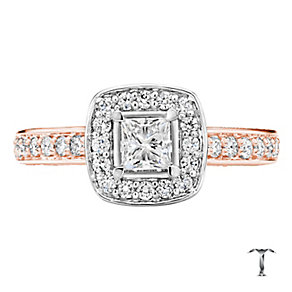 Tolkowsky 18ct Gold 1ct Princess Cut Diamond Halo Ring - Product number 3983099