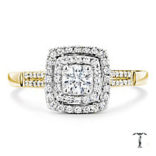 Tolkowsky 18ct Gold 0.50ct I-I1 Double Diamond Halo Ring - Product number 3984710