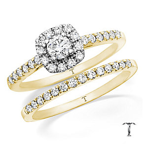 Tolkowsky 18ct Gold 0.50ct I-I1 Diamond Bridal Set - Product number 3985644