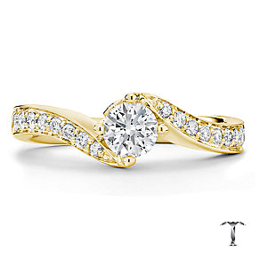 Tolkowsky 18ct Gold 0.66ct I-I1 Diamond Twist Ring - Product number 3986071