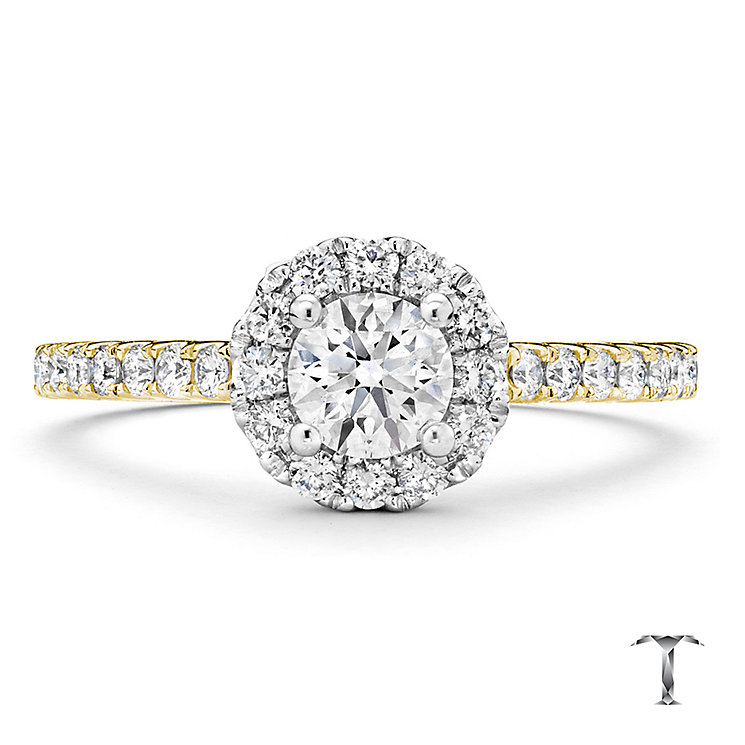 Tolkowsky 18ct Gold 0.77ct I-I1 Diamond Halo Ring - Product number 3986527