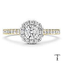Tolkowsky 18ct Gold 0.77ct I-I1 Diamond Halo Ring - Product number 3986527