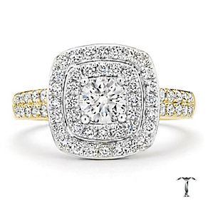 Tolkowsky 18ct Gold 1.00ct I-I1 Diamond Halo Ring - Product number 3987264