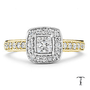 Tolkowsky 18ct gold 1ct princess cut diamond bridal set - Product number 3988139
