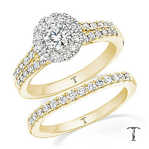 Tolkowsky 18ct gold 1ct round cut diamond bridal set - Product number 3988279