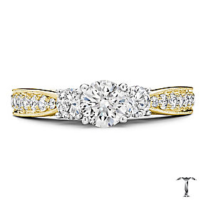 Tolkowsky 18ct gold 1.25ct three stone diamond ring - Product number 3988538