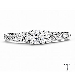 Tolkowsky 18ct Platinum 0.50ct round cut diamond ring - Product number 3993035