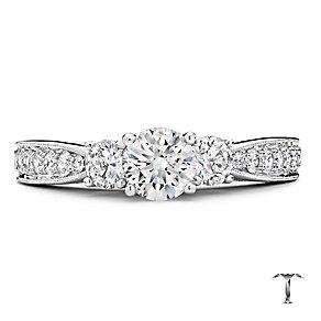 Tolkowsky Platinum 1.25ct three stone diamond ring - Product number 3996964