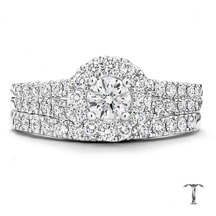 Tolkowsky Platinum 1ct round cut diamond bridal set - Product number 3997472