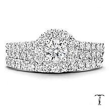 Tolkowsky Platinum 1ct round cut diamond bridal set - Product number 3997472