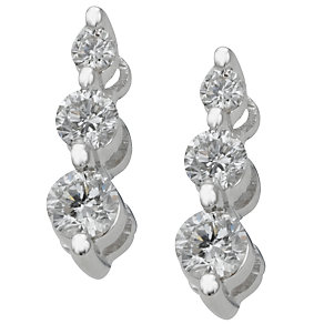 18ct white gold half carat diamond three stone earrings - Product number 4013689
