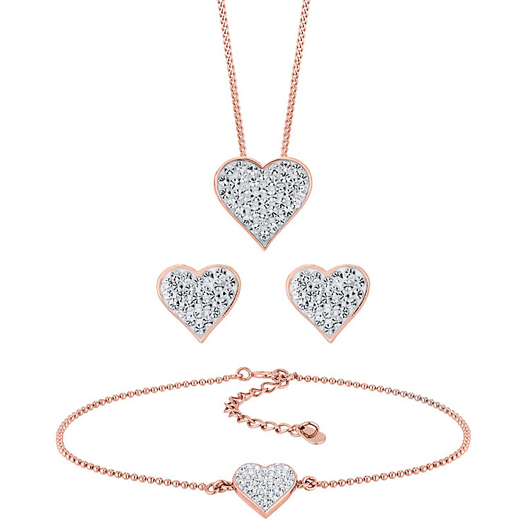 Evoke Rose Gold Plated and Crystal Heart Set - Product number 4015029