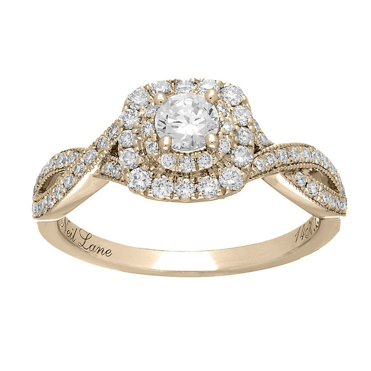Neil Lane 14ct gold 0.75ct diamond double halo ring - Product number 4043561