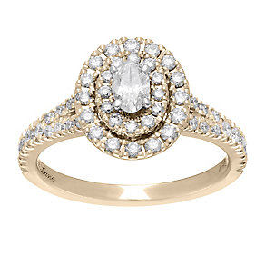 Neil Lane 14ct gold 0.80ct oval diamond halo ring - Product number 4045246