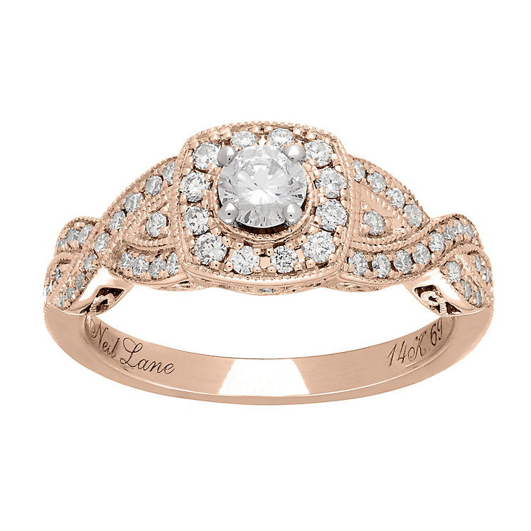 Neil Lane 14ct rose gold 0.69ct diamond halo twist ring - Product number 4046706