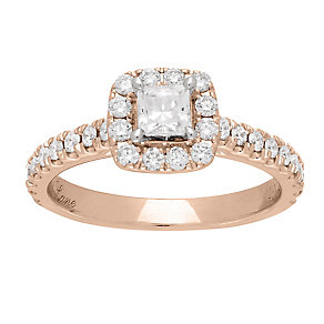 Neil Lane 14ct rose gold 0.80ct diamond halo ring - Product number 4046978