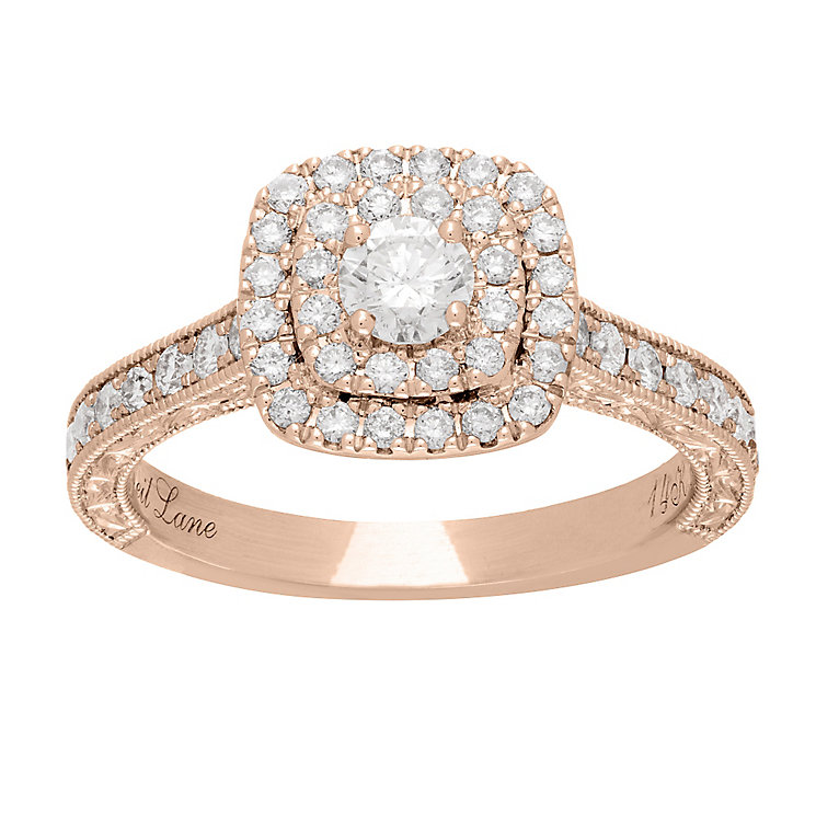 Neil Lane 14ct rose gold 0.87ct diamond halo ring - Product number 4047508