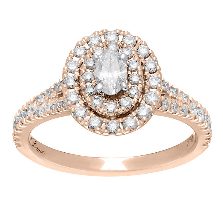 Neil Lane 14ct rose gold 0.80ct oval diamond halo ring - Product number 4048555