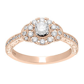 Neil Lane 14ct rose gold 0.56ct diamond halo ring - Product number 4048695