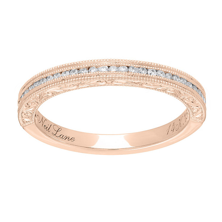 Neil Lane 14ct rose gold 0.15ct diamond milgrain band - Product number 4049098