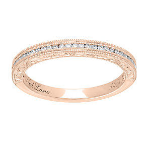 Neil Lane 14ct rose gold 0.15ct diamond milgrain ring - Product number 4049098
