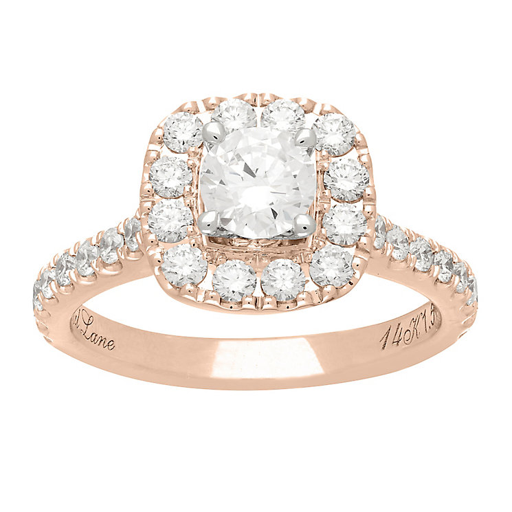Neil Lane 14ct rose gold 1.50ct diamond halo ring - Product number 4049225