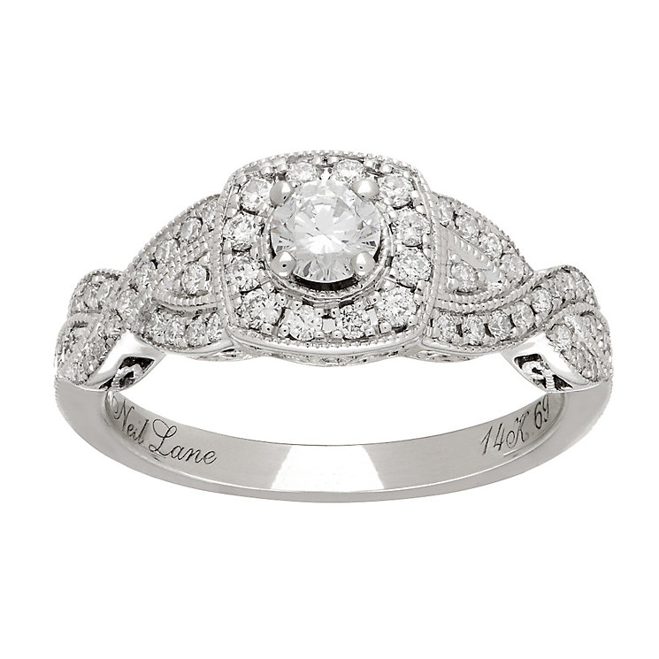 Neil Lane platinum 0.69ct diamond halo twist ring - Product number 4050142