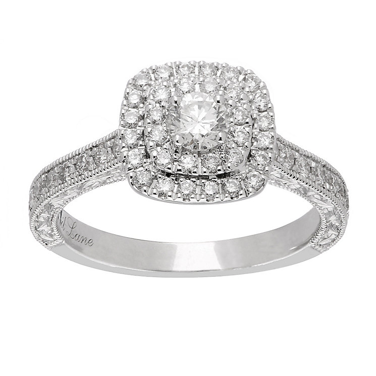 Neil Lane platinum 0.87ct diamond halo ring - Product number 4050932