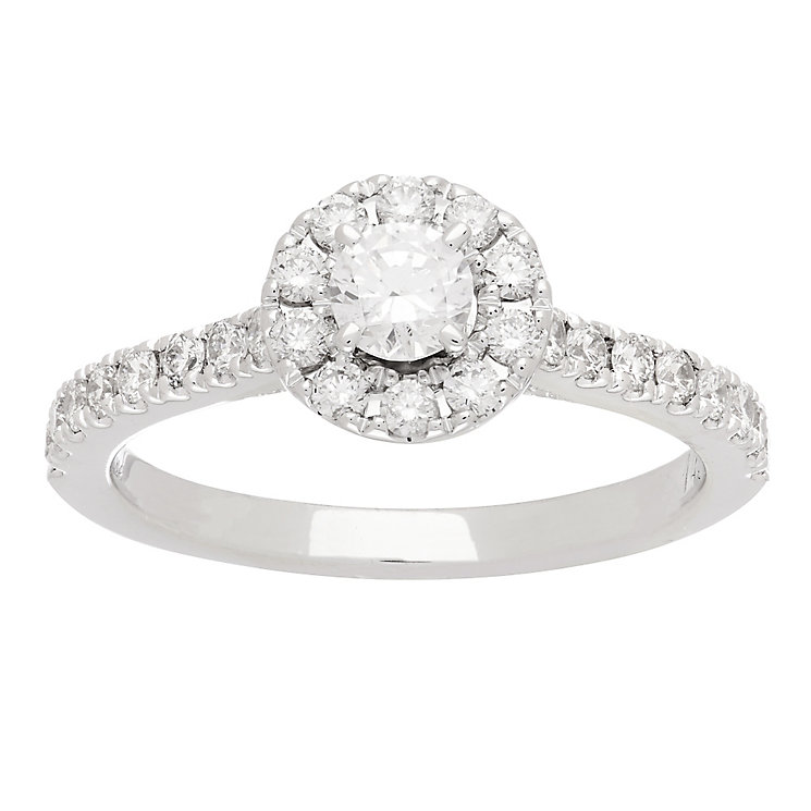 Neil Lane platinum 0.77ct round cut diamond halo ring - Product number 4053303