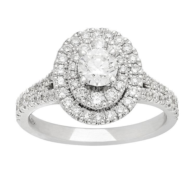 Neil Lane platinum 1.13ct oval cut diamond halo ring - Product number 4053737