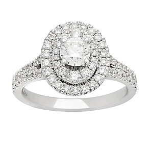 Neil Lane platinum 1.13ct oval cut diamond halo ring - Product number 4053737