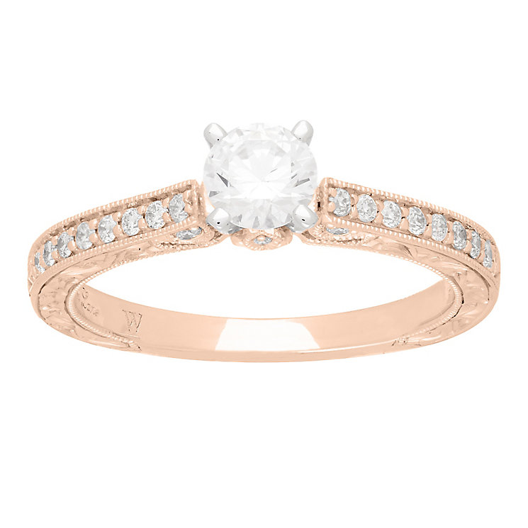 Neil Lane 14ct rose gold 0.66ct solitaire diamond ring - Product number 4055543