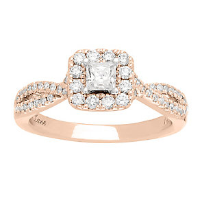 Neil Lane 14ct rose gold 0.68ct princess cut diamond ring - Product number 4056450