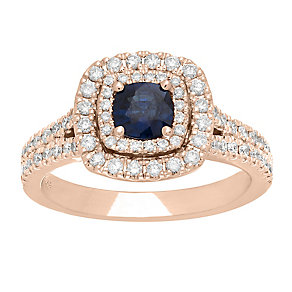 Neil Lane 14ct rose gold 0.63ct sapphire & diamond ring - Product number 4057481