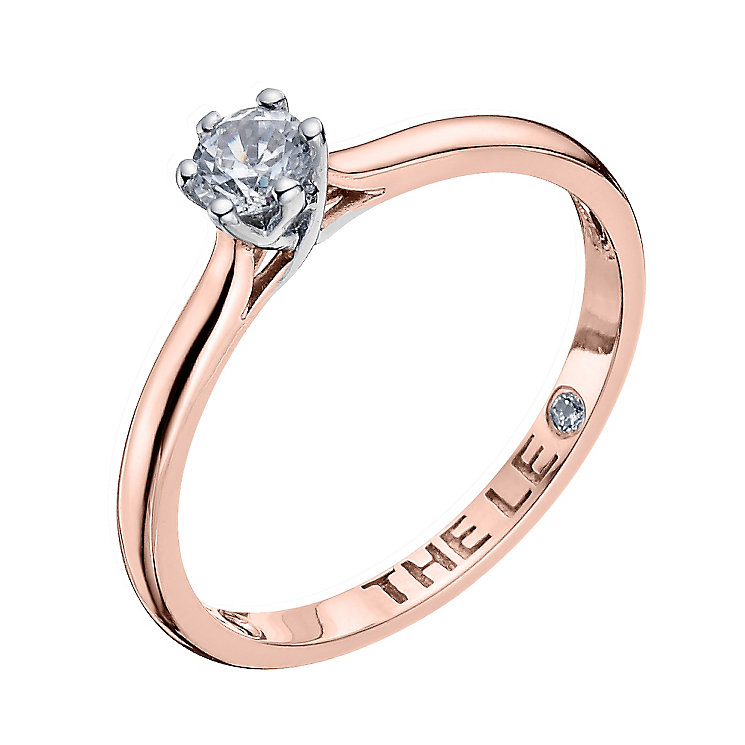 Leo Diamond 18ct rose gold 0.25ct I-I1 solitaire ring - Product number 4057686