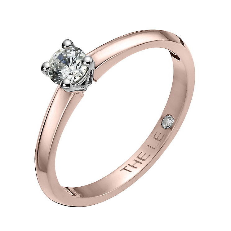 Leo Diamond 18ct rose gold 0.25ct I-I1 solitaire ring - Product number 4058399