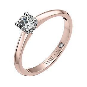 Leo Diamond 18ct rose gold 0.33ct I-I1 solitaire ring - Product number 4058550