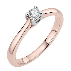 Leo Diamond 18ct rose gold 0.15ct I-SI2 solitaire ring - Product number 4058968