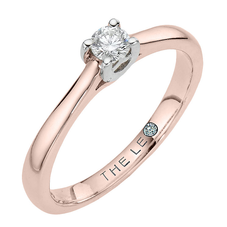 Leo Diamond 18ct rose gold 0.25ct I-SI2 solitaire ring - Product number 4059115