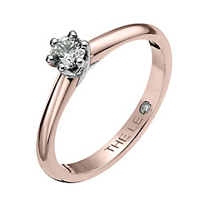 Leo Diamond 18ct rose gold 0.25ct I-SI2 solitaire ring - Product number 4062574