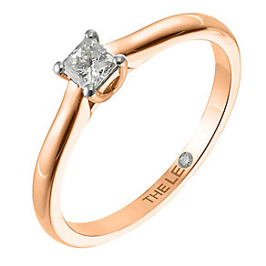 Leo Diamond rose gold 0.25ct I-SI2 princess cut ring - Product number 4064224
