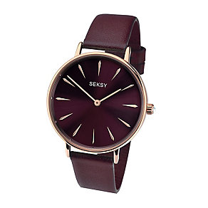 Sekonda Seksy Ladies' Burgundy Leather Strap Watch - Product number 4064704