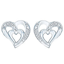 Silver 0.03ct Heart Diamond Earrings - Product number 4066030